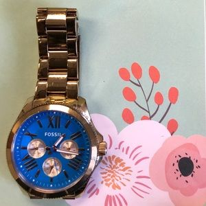 Fossil watch rose-gold with blue face